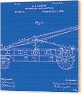 Vintage Firetruck Patent - Blueprint Wood Print
