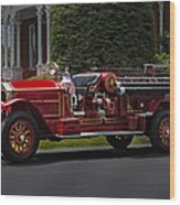 Vintage Firetruck Wood Print by Susan Candelario