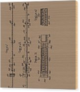 Vintage Fishing Rod Patent 1942 Wood Print