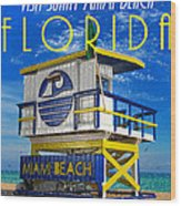 Vintage Florida Travel Style Artwork Wood Print