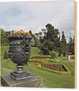Vintage Flowerpots And Garden View - Powerscourt Garden Wood Print