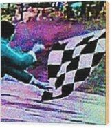 Vintage Formula 1 Race Checkered Flag  Wood Print