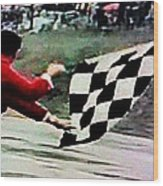 Vintage Formula Race Checkered Flag Wood Print