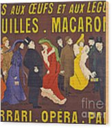 Vintage French Paris Opera Pasta Poster Wood Print