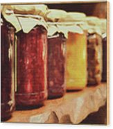 Vintage Fruit And Vegetable Preserves I Wood Print