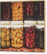Vintage Fruit And Vegetable Preserves II Wood Print