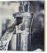 Vintage Ft. Worth Stockyards Water Pump Wood Print