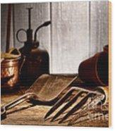 Vintage Gardening Tools Wood Print by Olivier Le Queinec