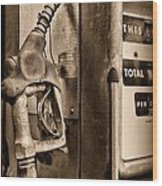 Vintage Gas Pump Showing Its Age Wood Print