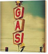 Vintage Gas Sign Wood Print