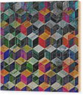 Vintage Geometric Cubes Wood Print