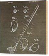 Vintage Golf Club Patent Wood Print