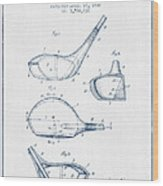 Vintage Golf Club Patent Drawing From 1926 - Blue Ink Wood Print