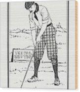 Vintage Golfer 1900 Wood Print
