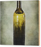 Vintage Green Glass Bottle Wood Print