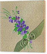 Vintage Greeting. Bouquet Of Purple Spray Flowers With Green Ribbon.  Wood Print