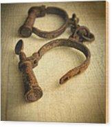 Vintage Handcuffs Wood Print