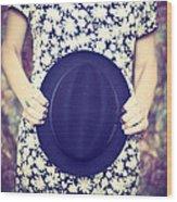 Vintage Hat Flower Dress Woman Wood Print