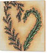 Vintage Heart Wreath Wood Print