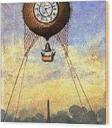 Vintage Hot Air Balloon Over Eiffel Tower Wood Print