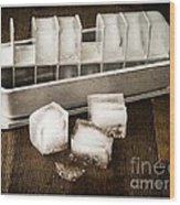 Vintage Ice Cubes Wood Print by Edward Fielding