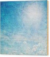 Vintage Image Of Sunny Blue Sky Wood Print