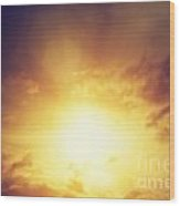 Vintage Image Of Sunset Sky With Dark Dramatic Clouds Wood Print