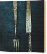 Vintage In Blue Wood Print