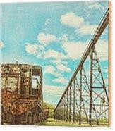 Vintage Industrial Postcard Wood Print