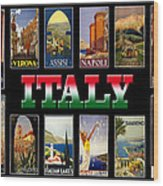 Vintage Italy Travel Posters Wood Print