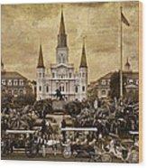 Vintage Jackson Square Wood Print
