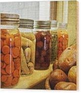 Vintage Jars On A Kitchen Window Wood Print