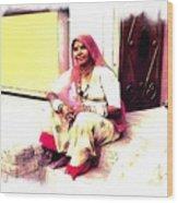Vintage Just Sitting 2 - Woman Portrait - Indian Village Rajasthani Wood Print
