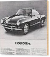 Vintage Karmann Ghia Advert Wood Print