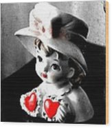 Vintage Lady Head Vase - Black And White With Red Wood Print