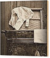 Vintage Laundry Room In Sepia Wood Print