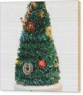 Vintage Lighted Christmas Tree Decoration Wood Print