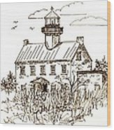Vintage Lines Of East Point Lighthouse Wood Print