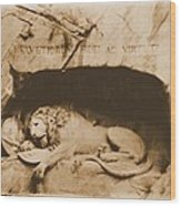 Vintage Lion Of Lucerne Wood Print