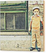 Vintage Little Boy Wood Print by Stephanie Grooms