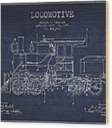 Vintage Locomotive Patent From 1892 Wood Print