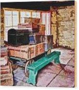 Vintage Luggage Room Wood Print
