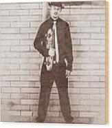 Vintage Male Skateboarder Wood Print