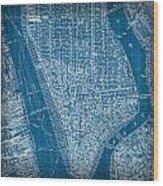 Vintage Manhattan Street Map Blueprint Wood Print