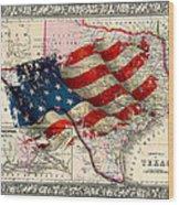 Vintage Map Of Texas 2 Wood Print