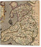 Vintage Map Of Wales 1633 Wood Print