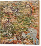 Vintage Map Of Yellowstone National Park Wood Print