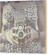 Vintage Medium Format Camera Wood Print