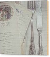 Vintage Menu Cards Knife And Fork Wood Print