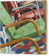 Vintage Metal Outdoor Chairs Wood Print